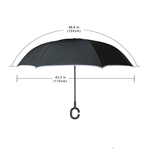 senya Double Layer Inverted Umbrellas Cute Meteor Stars Pattern Folding Umbrella Windproof UV Protection for Car Use Rain Outdoor With C-Shaped Handle by senya (Image #5)