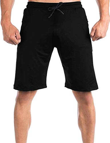 COOFANDY Men's Gym Workout Shorts Athletic Bodybuilding Short Pants Running Fitted Training Jogger with Zipper Pockets Black