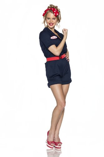 50's Pin Up Costumes - Delicious Riveting Rosie Costume, Navy Blue,