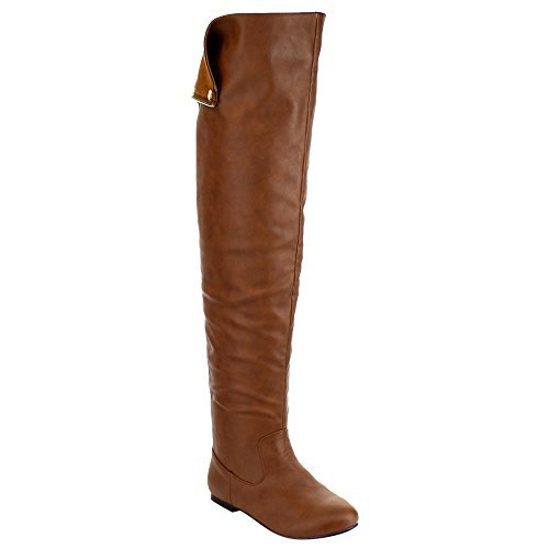NATURE BREEZE FE61 Women Snap Cuff Over The Knee Flat Heel Boots Half Size Small, Color:TAN, Size:8