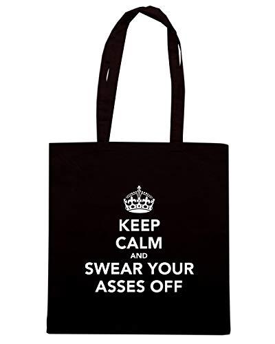 Borsa Shopper Nera TKC1026 KEEP CALM AND SWEAR YOUR ASSES OFF