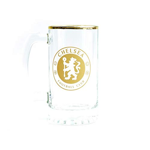 Chelsea FC Foil Stein Pint Glass (One Size) (Transparent/Gold)
