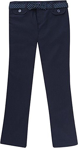 French Toast School Uniform Girls Twill Straight Leg Belted Pants, Navy, 7