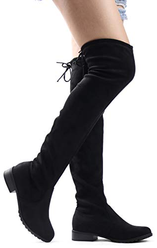 LUSTHAVE Womens Sexy Over The Knee Pull on Flat Boot Drawstring Stretchy Comfortable Block Heel