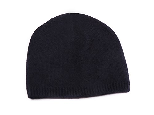 Miuk Women's 100% Pure Cashmere Basic Knit Hat Navy