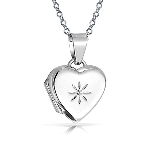 Small Etched Flower CZ Accent Heart Pendant Necklace Locket For Women For Teen 925 Sterling Silver
