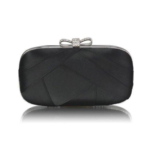 Box Clutch Bag Hard Case Satin Handbag Bow Ladies Diamante Evening Bridal Purse