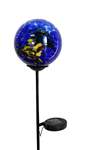Moonrays 92563 Solar Powered White LED Swirled Glass Gazing Ball Stake Light Multipack by Moonrays