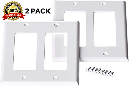 - 2 Gang Switch Plate (2 PACK) | 2 Gang Decora Wall Plate White | 2 Gang Decora Outlet Cover