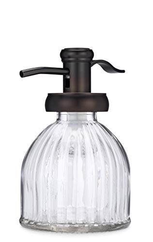- Small Vintage Design Fluted Glass Soap Dispenser with Antique Bronze Soap Pump - Perfect for Liquid Hand Soap and Lotion for the Kitchen or Bathroom Countertop
