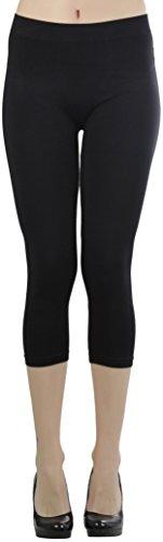 ToBeInStyle Women's Seamless Capri Leggings - Black - One Size Regular
