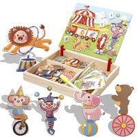 Model Wood Educational Toys Puzzle and Drawing Toys, Vehicles, Circus, Occupations Dress Up, Face, Palace Building