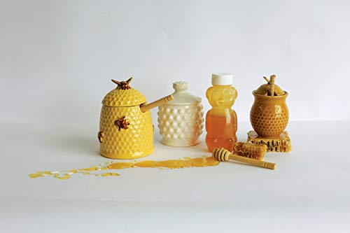 Creative Co-Op DA4847 White Ceramic Hobnail Style Honey Jar with Lid & Wood Dipper by Creative Co-op (Image #2)