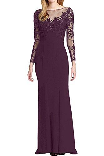 La_mia Braut Elegant Rot Lang Spitze Damen Abendkleider Ballkleider Brautmutterkleider Festlichkleider Trumpet Etuikleider Traube tfVCrCCA