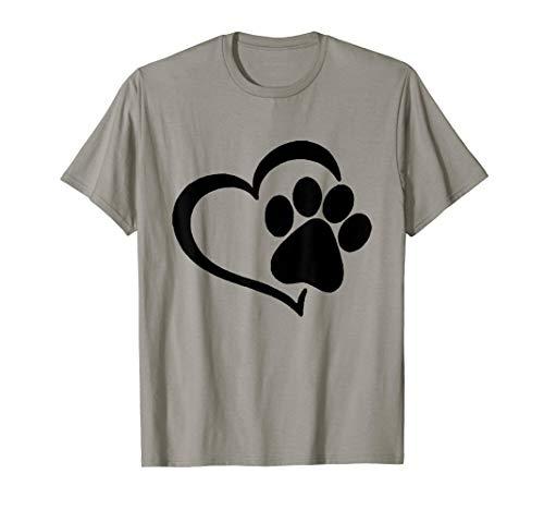- Heart Paw Shirt - I Love Dogs Paw Print Heart Dog Puppy T-Shirt