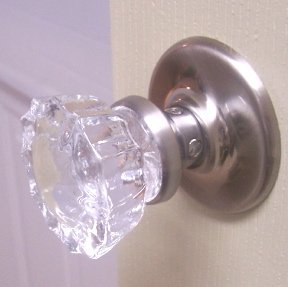 Premium Depression Crystal Glass Passage Knob Set, Brushed Nickel Hardware,  Ready To Install In