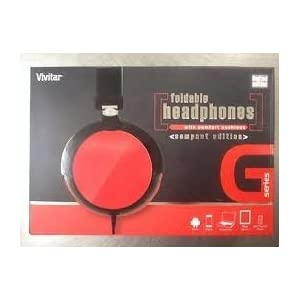 Vivitar G Series Foldable Headphones with Comfort Cushions Red