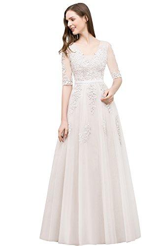 A Ärmel Misshow Elegant Damen Tüll Prom Linie 2 Spitzenkleid Ballkleid 1 Abendkleid Beige 8r1Yqw1X