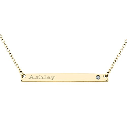14K Yellow Gold Narrow Engravable Bar Necklace with Genuine Diamond Accent and 16