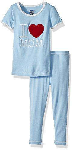 Kickee Pants Toddler Boys' Holiday Short Sleeve Applique Pajama Set, Pond I Love Mom, 4T by Kickee Pants