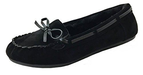 Women' Faux Soft Suede Fur Lined Moccasin Loafer Slippers (Mocassin-21) Black, - Medieval Moccasins