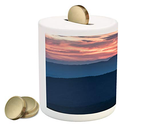 Ambesonne Appalachian Piggy Bank, Landscape Photo of Sunset Over Blue Ridge Mountains in Virginia, Printed Ceramic Coin Bank Money Box for Cash Saving, Coral and Dark Sky Blue