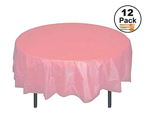 HOMEE 12 Pack Plastic Table Cloths for Party 84 inch Premium Round Table Cover Tablecloth Disposable Table Protector Cover for Party Wedding and Banquet - Pink