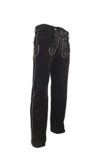 Trachten Lederhose lang für Damen und Herren braun Neu Echt Leder Trachtenlederhosen Gr. 46-62 (56 (tailie 102-107cm), Braun)