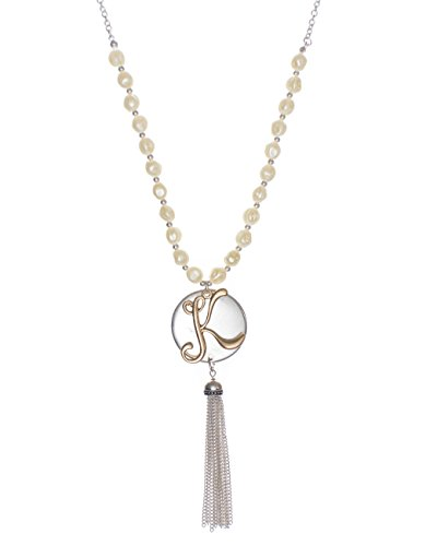 Two Tone Medallion - Jewelry Nexus K Monogram Two-Tone Medallion Necklace with Imitation Pearls & Dangling Tassle