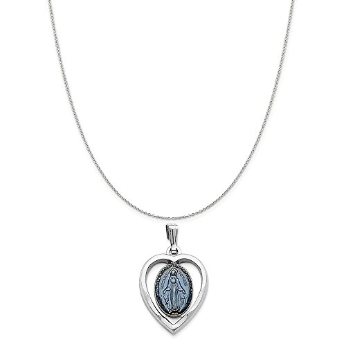 (Sterling Silver Rhodium-Plated Miraculous Heart Medal on a Sterling Silver Cable Chain Necklace, 20