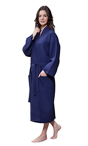Turquaz Linen Lightweight Long Waffle Kimono Unisex Spa Robe