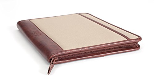 Professional Business Case Portfolio Padfolio Organizer Folder With iPad Mini, Kindle or Tablet Sleeve, Zipper, Card Holders, Pen Holder, Document Folder, and Front Paper Holder - Tan Photo #3
