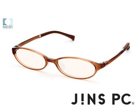 【JINS PC オーバル ハイコントラストレンズ】PC(ディスプレイ)専用メガネ (度なし) (LIGHT BROWN)