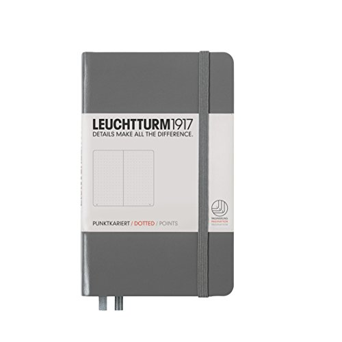 Leuchtturm1917 A6 Pocket Dotted Notebook- Anthracite, 185 numbered pages
