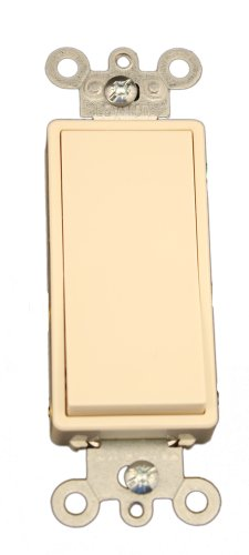 Leviton 5614-2T 15 Amp, 120/277 Volt, Decora Rocker Lighted Handle, Illuminated Off 4-Way AC Quiet Switch, Residential Grade, Grounding, Light Almond -