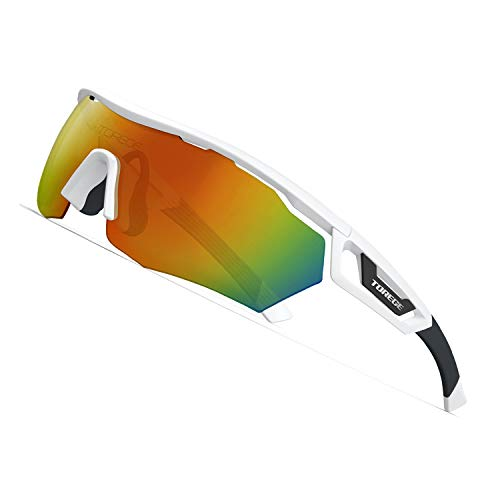 TOREGE Polarized Sports Sunglasses with 3 Interchangeable Lenes for Men Women Cycling Running Driving Fishing Golf Baseball Glasses TR05 (White&Black&Orange Lens)