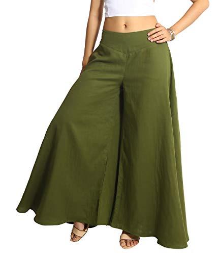 Tropic Bliss Women's Wide Leg Organic Cotton Palazzo Pants in Hunter Green, S