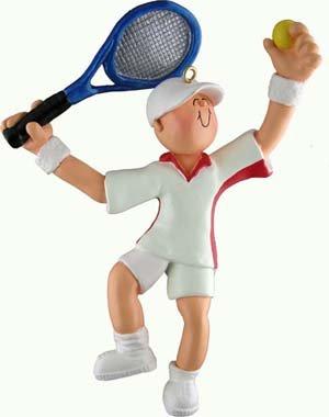 (Male Tennis Player Christmas Ornament)