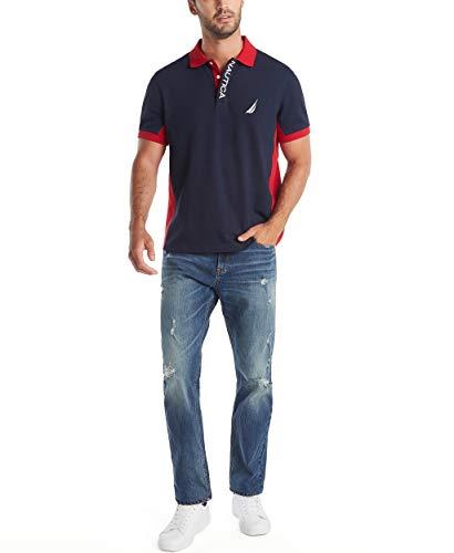 Nautica Men's Short Sleeve Color Block Performance Pique Polo Shirt