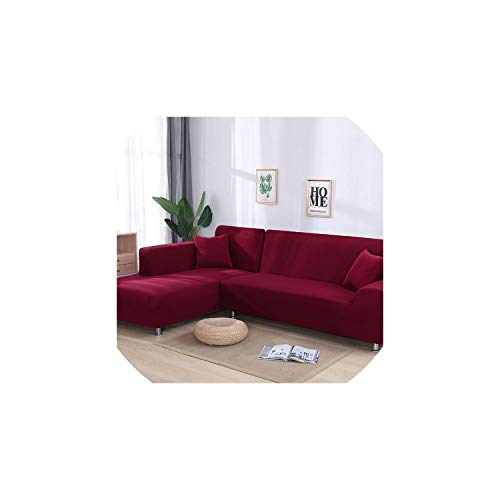 - fantasticlife06 Grey Color Elastic Couch Sofa Cover Cover Sofa Covers for Living Room Sectional Sofa Slipcover Armchair Furniture Cover,Wine Red,1Seater and 3Seater