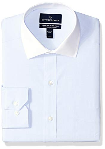 (BUTTONED DOWN Men's Tailored Fit Stretch Poplin Non-Iron Dress Shirt, Light Blue/White Collar, 14.5