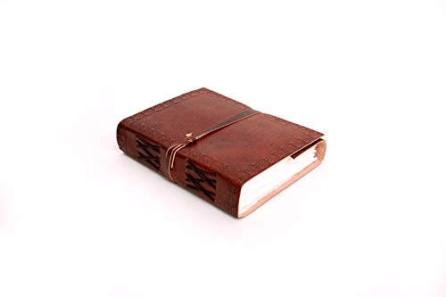 Mythrojan Handmade Leather Diaries with Etched Cover & Handmade Paper Diary Medieval Renaissance