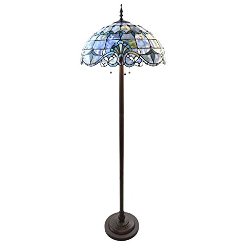 64''H Stained Glass Blue Allistar Floor Lamp by River of Goods