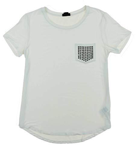 - DKNY Women's Scoop Neck Bling Pocket Tee Short Sleeve T-Shirt White Size L