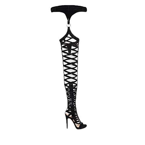 Thigh High Sandals Sexylong Gladiator Boots Rihanna Style Platform High Heels Serpentine Boots Woman Black 41 -