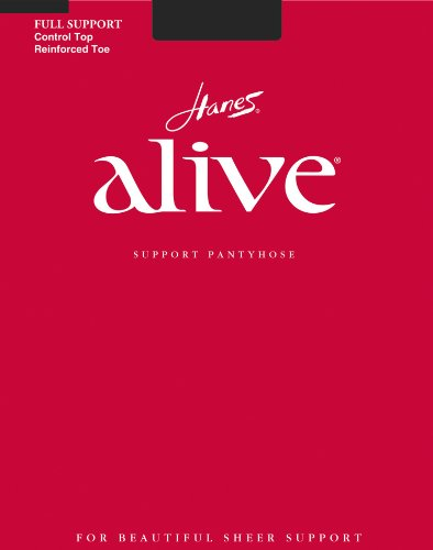 Hanes Alive Womens Nylon Full Support Reinforced Toe Sheer Pantyhose, A, Jet Black
