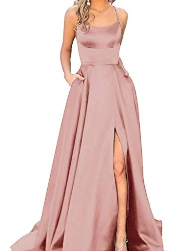 Halter Prom Dresses Long Split A-Line Spaghetti Evening Gowns with Pockets 2019 Blush Size 4