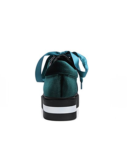 Retro Gold Velvet Face Thick Bottom Ribbon Shoes Green wzINO