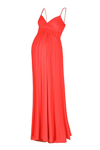 Beachcoco Women's Maternity Sweetheart Party Maxi Dress (S, Coral)