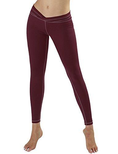 a8a89fa577420 Galleon - YOGARURU Women's V-Cut Yoga Pants Active Running Workout Leggings  Hidden Pocket , Wine , XX-Large